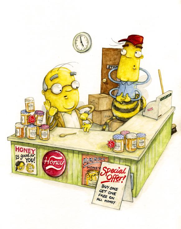 bees in honey shop